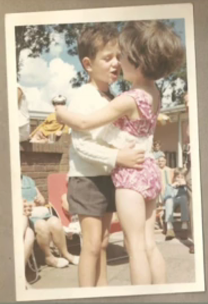 small boy and girl at butlins 1970s