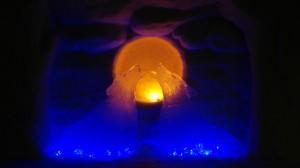 Lappset Ice Hotel wolves backlit