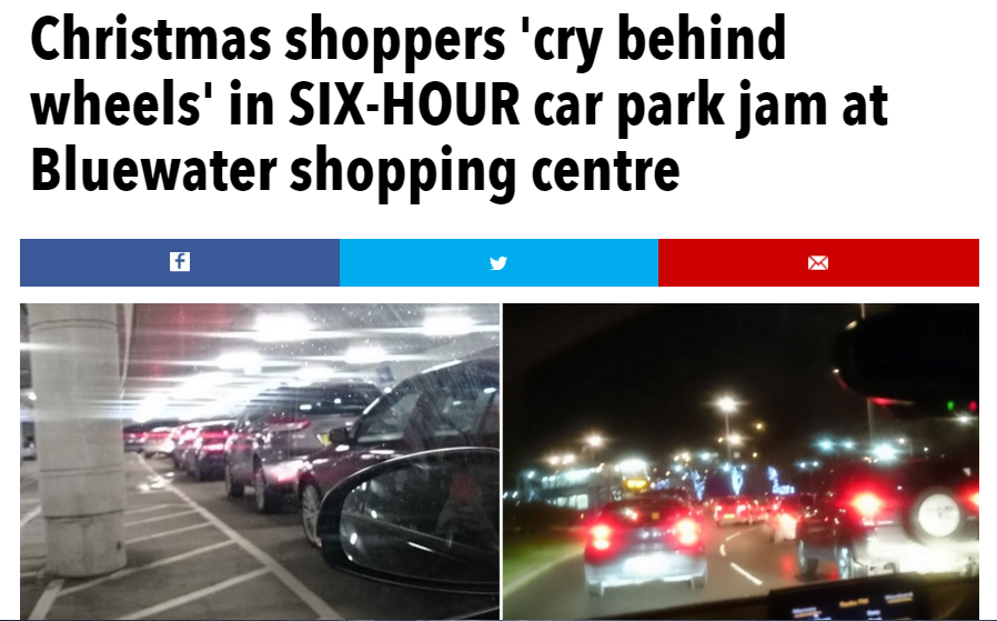 6 hour traffic jam for christmas shoppers at Bluewater Kent