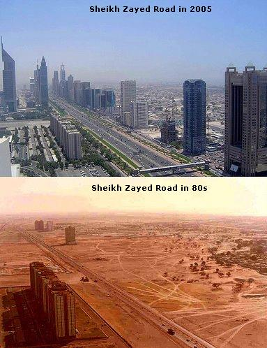 sheikh zayed road dubai in the eighties