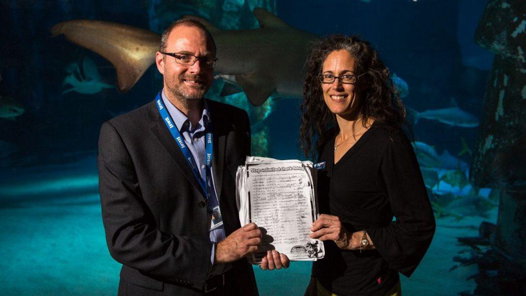 andy bool sea life trust with ali hood shark trust