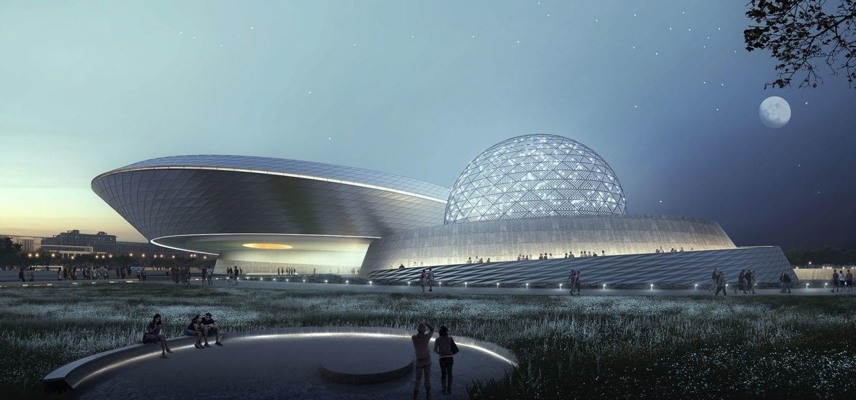 shanghai planetarium night time view