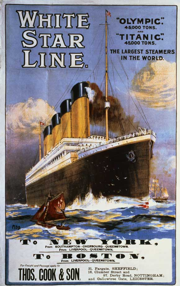 white star line poster with titanic