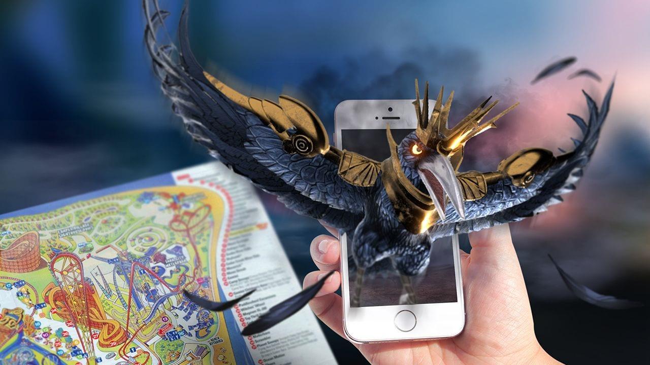 black bird comes out of phone app holovis theme park audiovisual cedar fair