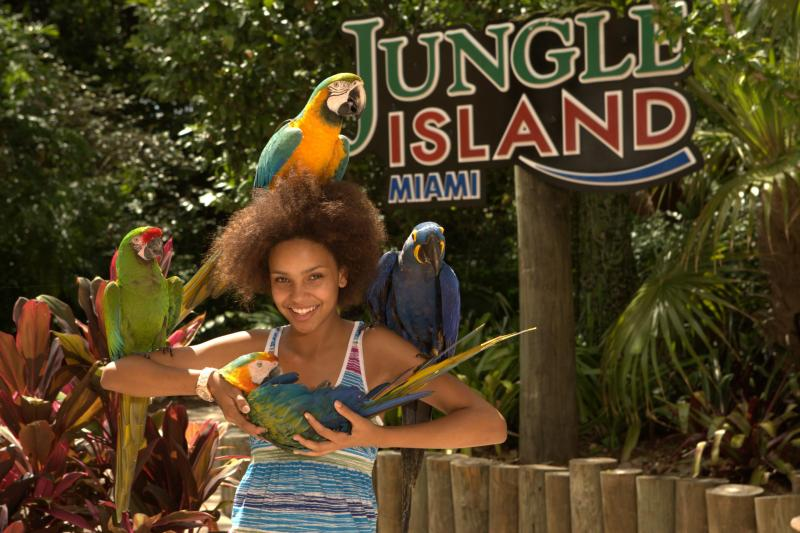 girl with parrots jungle island miami