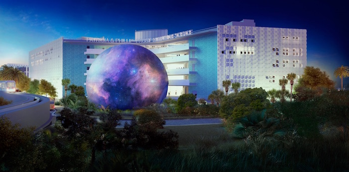 planetarium-exterior-by-night-at-patricia-and-phillip-frost-museum-of-science-blooloop