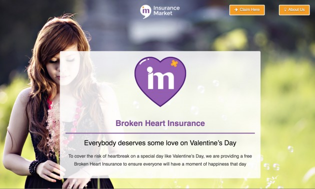 broken heart insurance Valentine's Day 2017