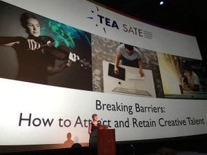 Clara Rice at TEA SATE conference, creative talent