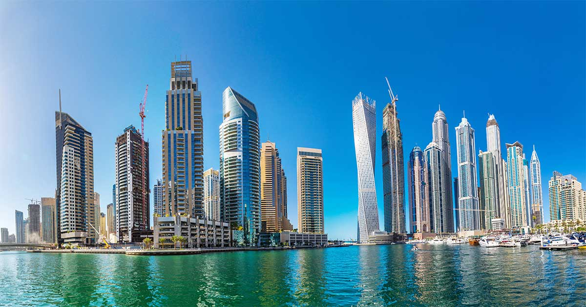 UAE panorama of dubai marina UAE