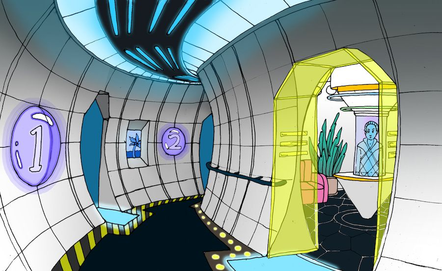meow wolf Portals-Bermuda-concept-art-by-Caity-Kennedy