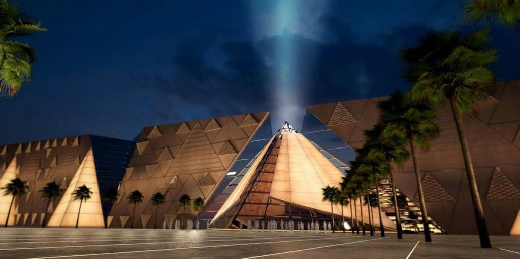 Pyramid wall at GEM grand Egyptian Museum