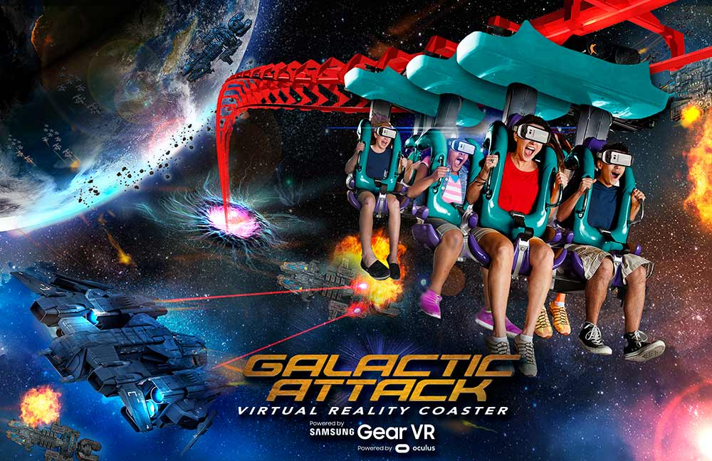 Six Flags Galactic Attack virtual reality roller coaster mixed reality