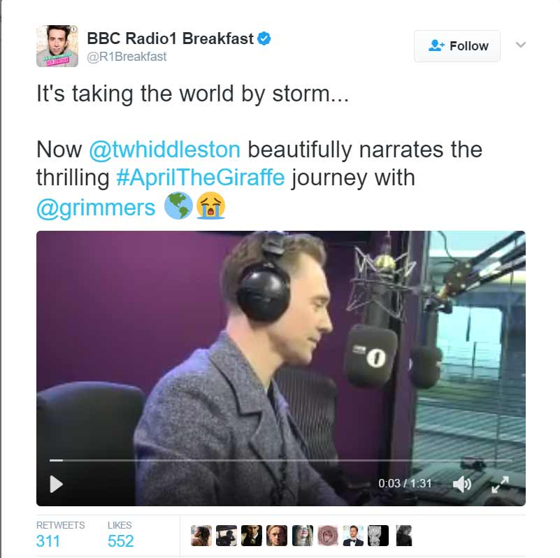 tom hiddleston april the giraffe bbc radio 1