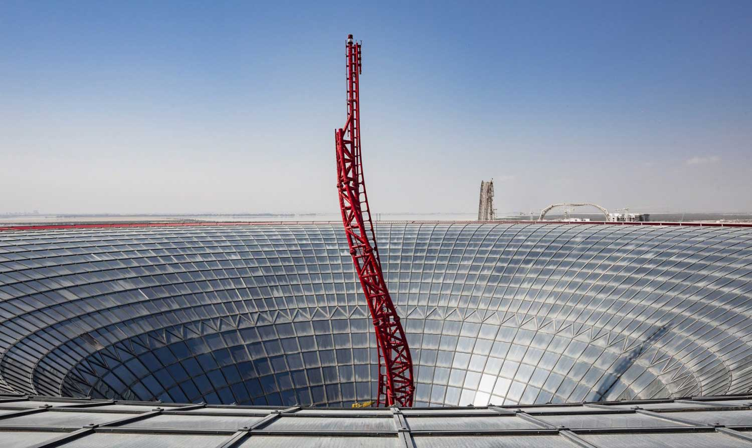 turbo track rollercaoster ferrari world abu dhabi roof