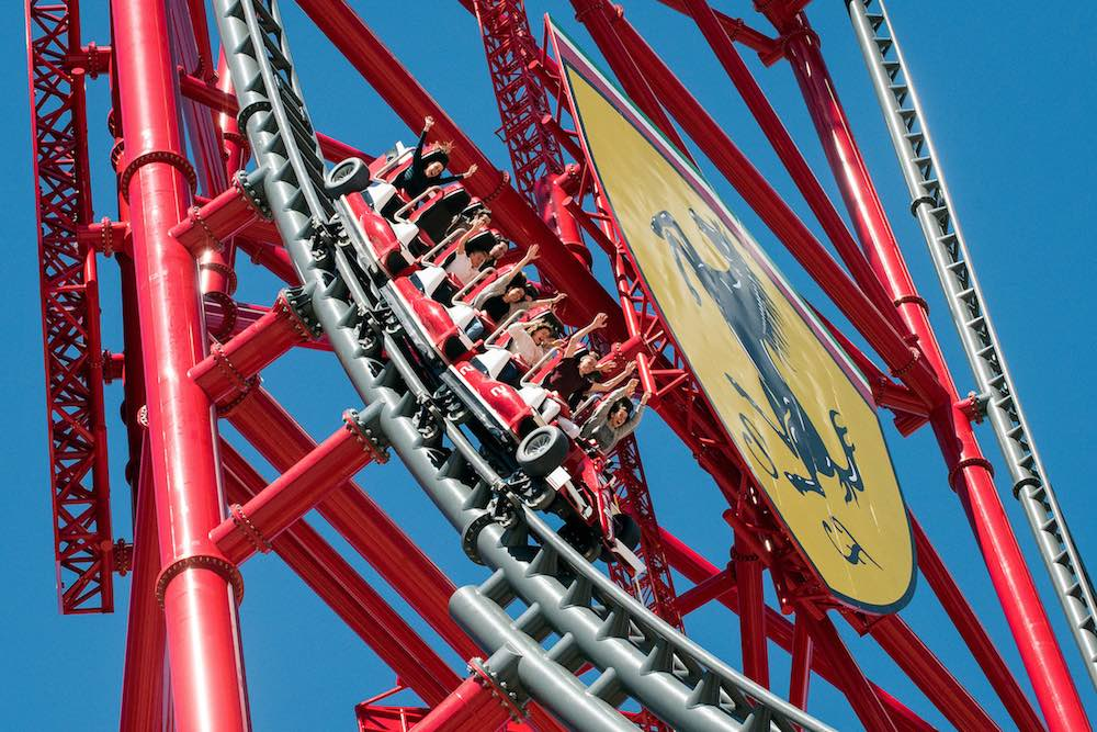 ferrari land red force roller coaster at portaventura world