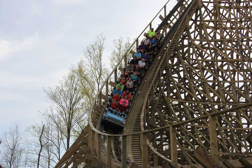 Mystic Timbers wooden roller coaster kings island preshow