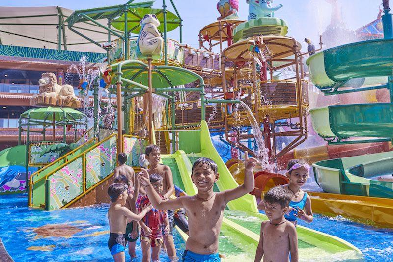 indian children at amaazia water park gujurat