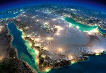 saudi arabia from the air at night entertainment city qiddiya construction