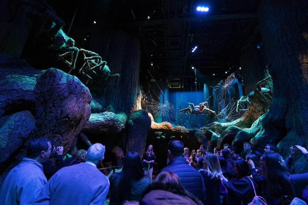 Aragog the Acumantula comes to life for visitors as they pass through the Forbidden Forest.