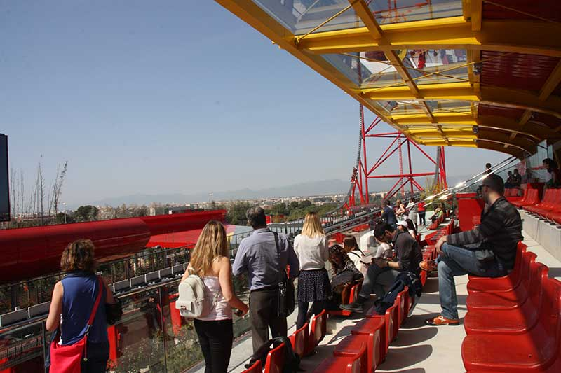 red force grand stand ferrari land