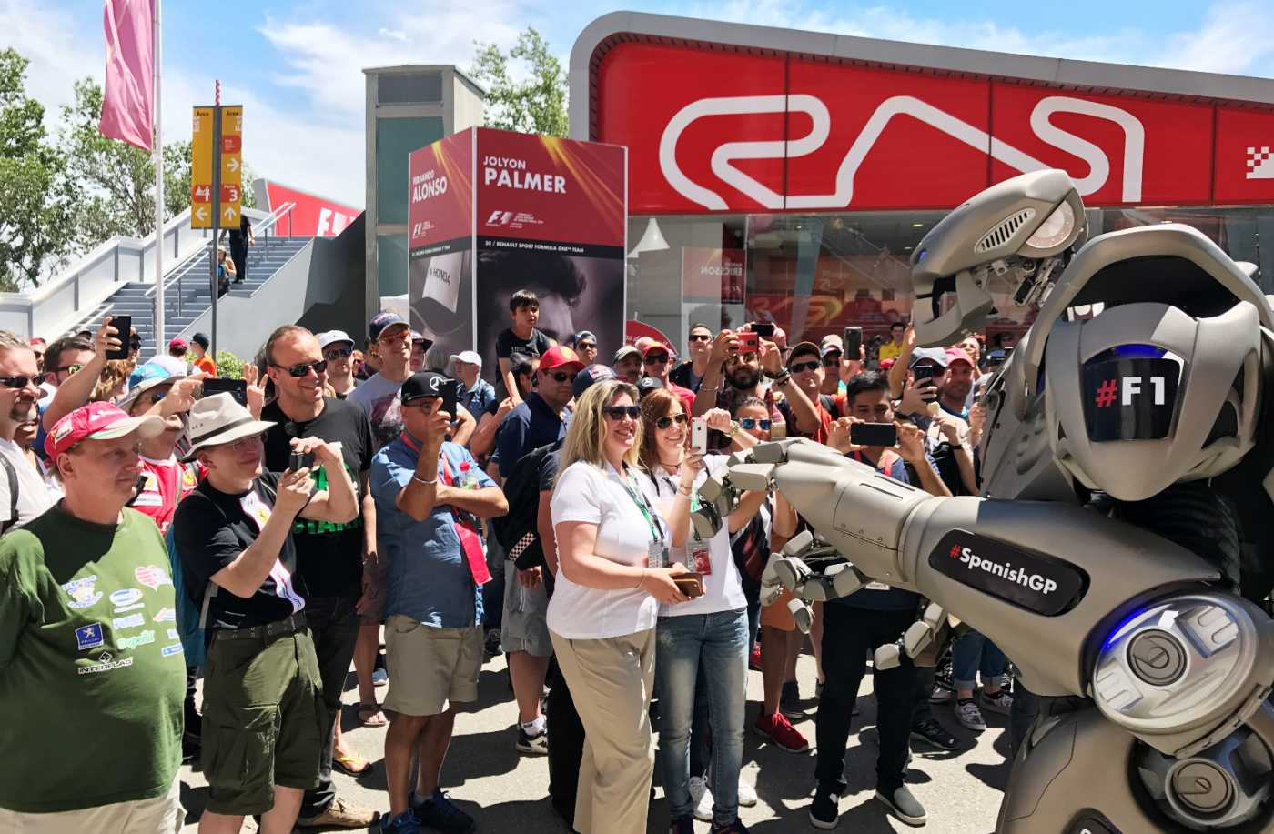 Winning formula: Titan the Robot takes the fun up a gear at F1 Spanish Grand Prix