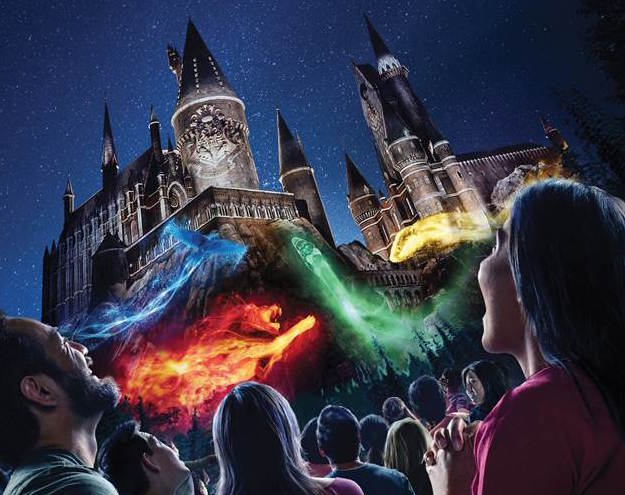 Nighttime Lights at Hogwarts Castle