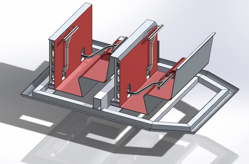 QuadStar ride containment drawing showing how each passenger has their own lap bar