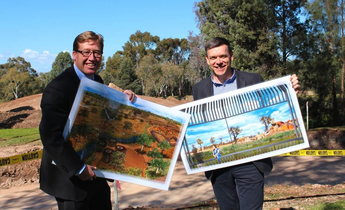 Taronga Western Plains Zoo Matt Fuller and Troy Grant at Pridelands announcement August 2016