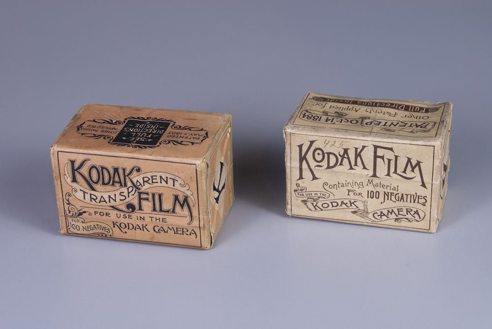 Photo of 1888 and 1889 boxes of Kodak film