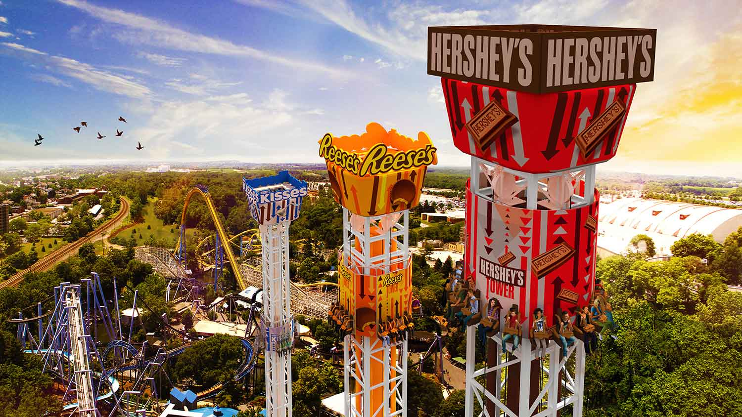 hersheypark triple tower aerial