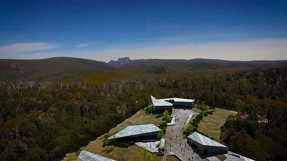 visitor centre cradle mountain aerial
