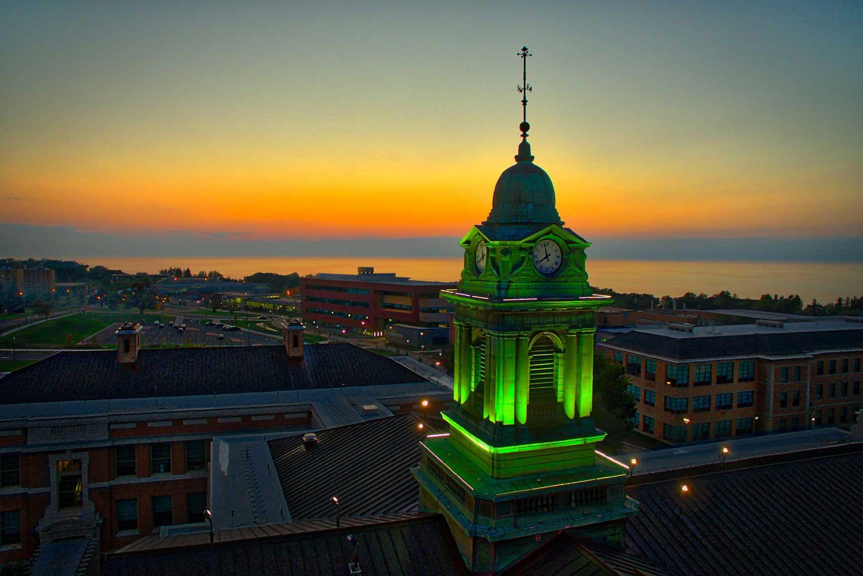 Sheldon Hall at sunset Oswego
