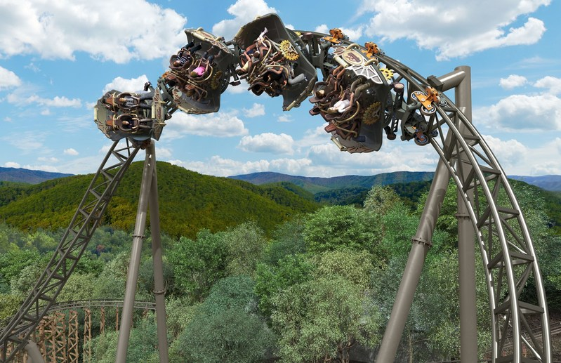 A rendering of time Traveler - the planned spinning coaster for Silver Dollar City.