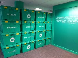 ShelterBox Visitor Centre boxes