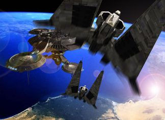 spaceship hovers above earth with blue ocean intellectual property