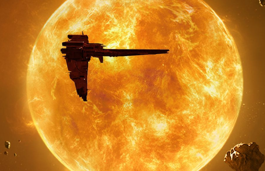 spaceship silhouetted against the orange sun