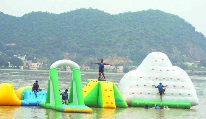 inflatable waterpark at Bhavani island in Vijayawada