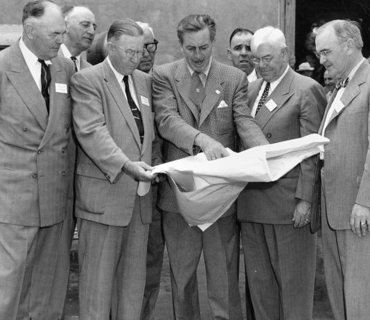 walt disney shows disneyland plans to orange county officials visual contradictions 1954.jpg