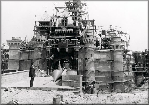 sleeping beauty castle under construction