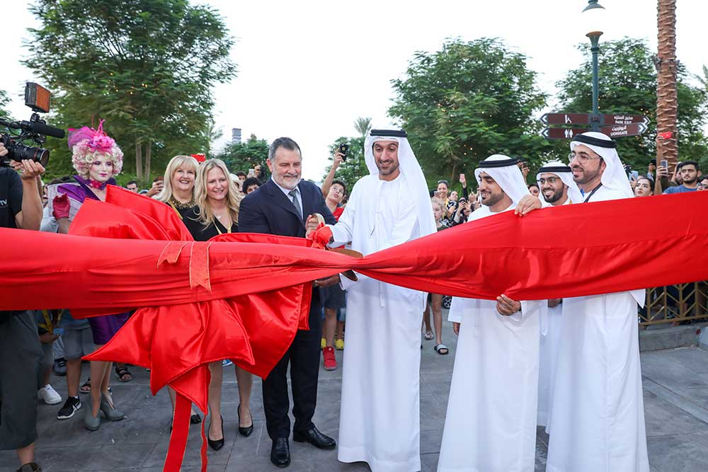 ribbon cutting the hunger games lionsgate motiongate dubai