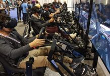 row of Vr riders at iaapa 2017