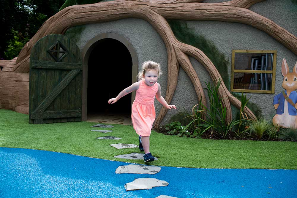 peter rabbit play area girl playing