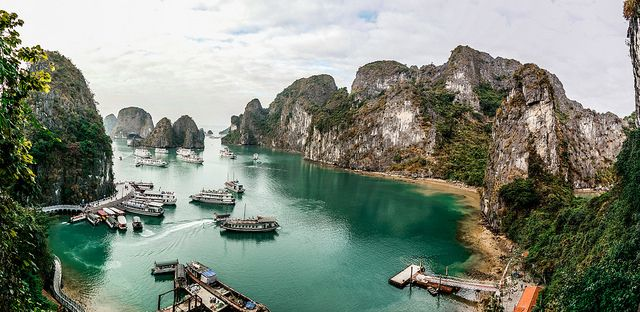 Boats in Halong Bay in the Quang Ninh province of Vietnam