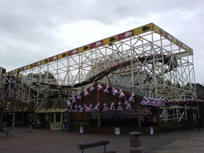 The Wild Mouse roller coaster at Blackpool's Pleasure Beach amusement park.