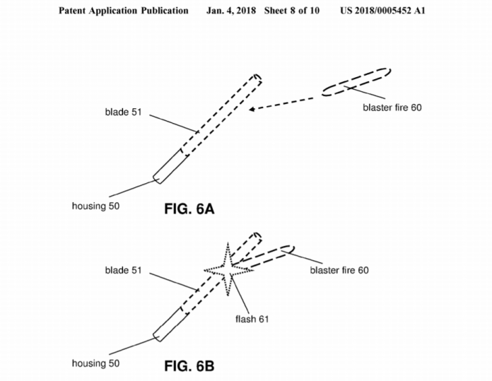 Drawings from Disney's lightsaber patent application. It describes augmenting an appearance of a hilt to simulate a bladed weapon.