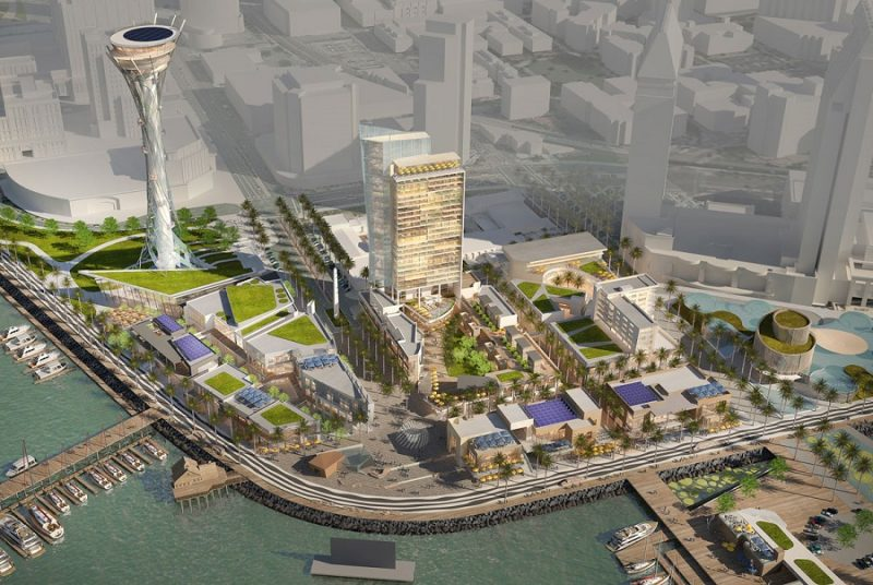 An aerial view of the proposed $1.5 billion Seaport San Diego development.