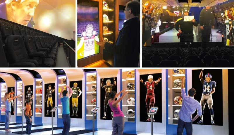 people try out interactive experiences at nfl experience times square
