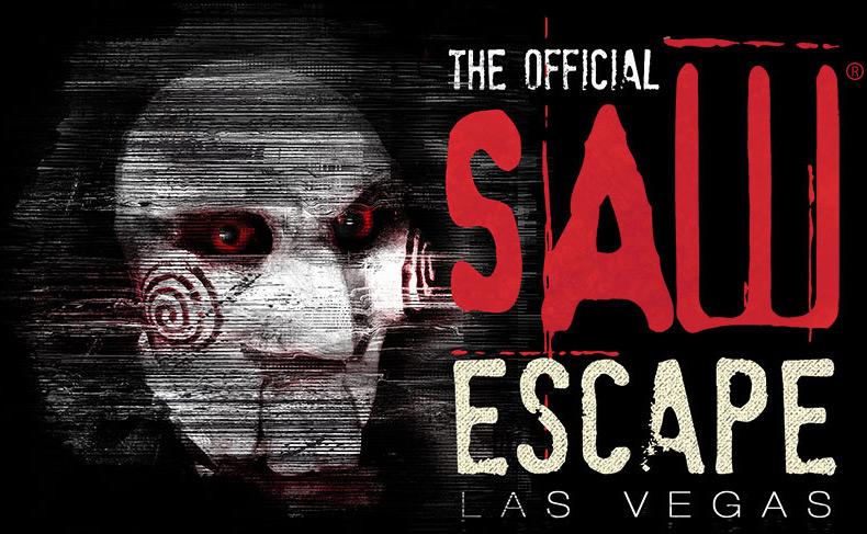 Official Saw Escape Experience logo. Egan Productions, Lionsgate. Las Vegas.
