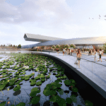 A design rendering of the Suzhou Science & Technology Museum designed by Perkins+Will.
