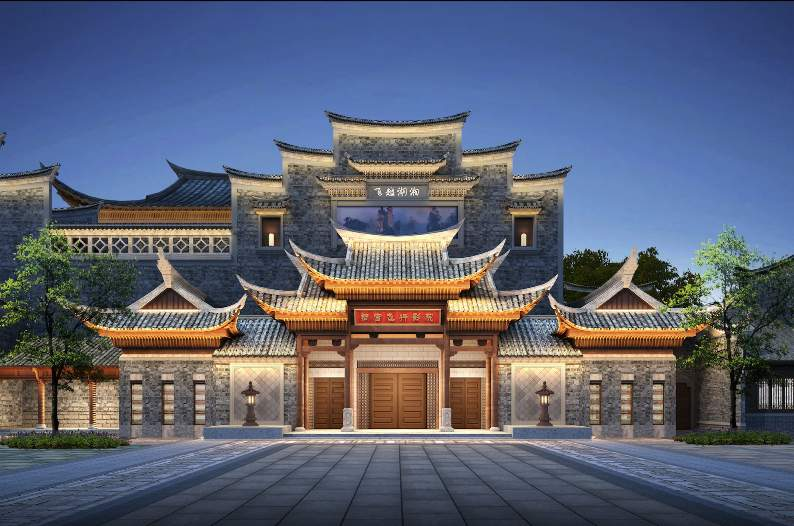 rendering of beautiful hunan entrance building CAVU flying theatre